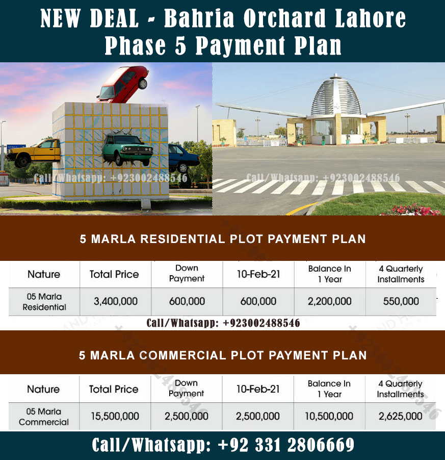 Bahria Orchard Phase 5 Lahore Payment Plan