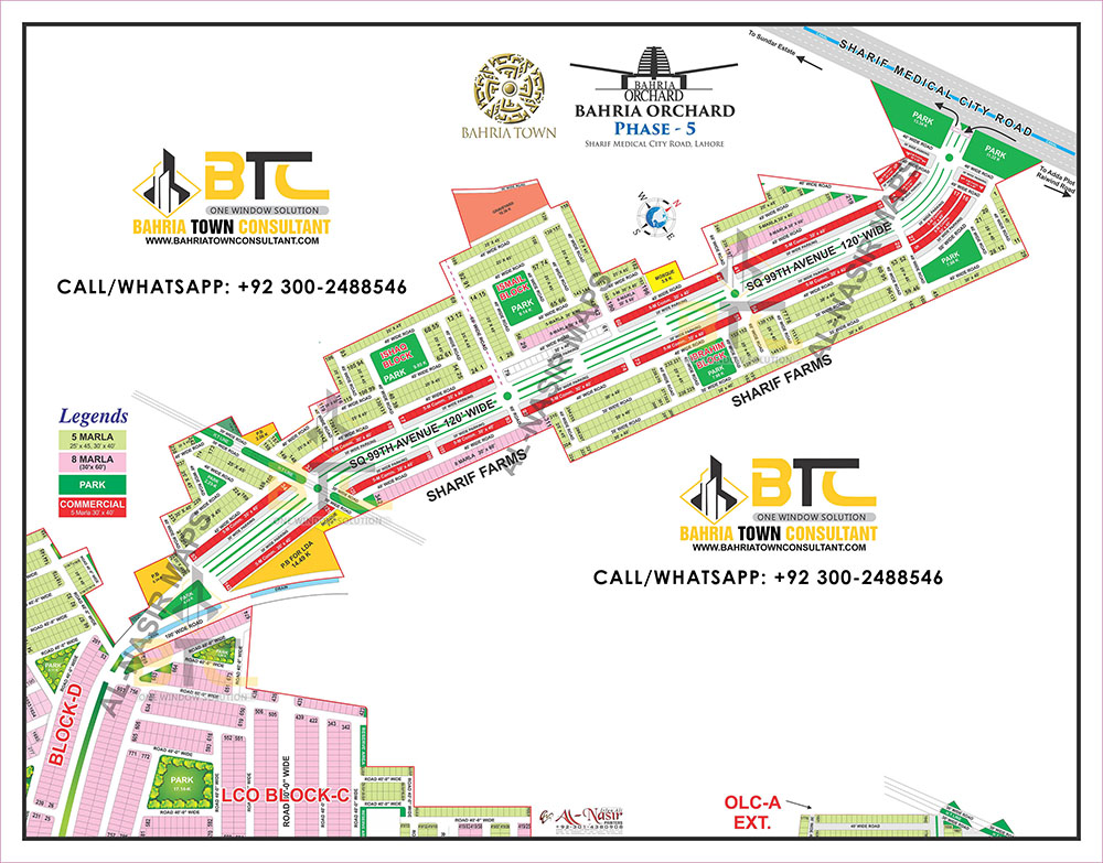 Bahria Orchard Lahore Phase 5 Map