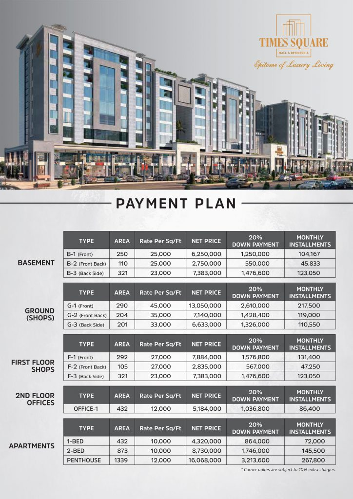 Times Square Mall and Residencia Lahore Payment Plan